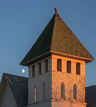 Steeple and Moon by David Sams