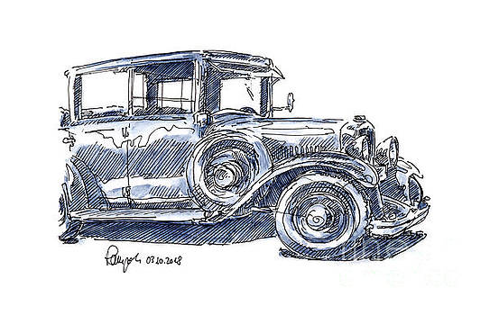 Frank Ramspott - Steyr 30 Typ 45 Classic Car Ink Drawing and Watercolor