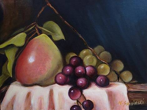 Stil LIfe with Pear and Grapes by Melinda Saminski