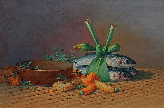 Still Life Of Ilema Lea, Calabash And Moi by Helen Whitney Kelley