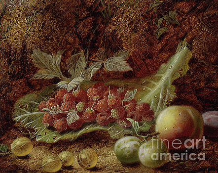 Oliver Clare - Still life of raspberries, gooseberries, peach and plums on a mossy bank