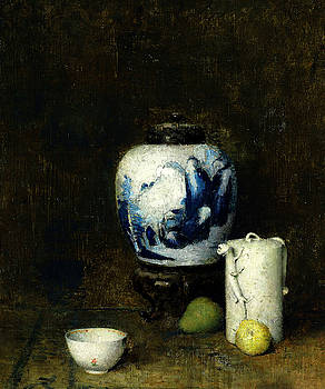 Still Life with Blue Vase by Soren Emil Carlsen
