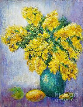 Still life with mimosas by Olga Malamud-Pavlovich