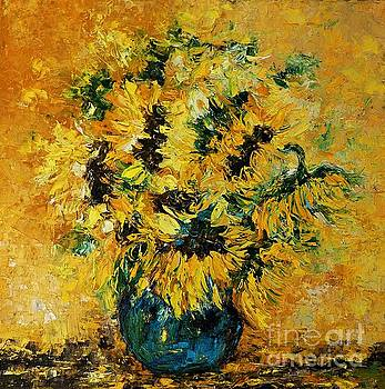 Still life with sunflowers and a blue vase by Amalia Suruceanu