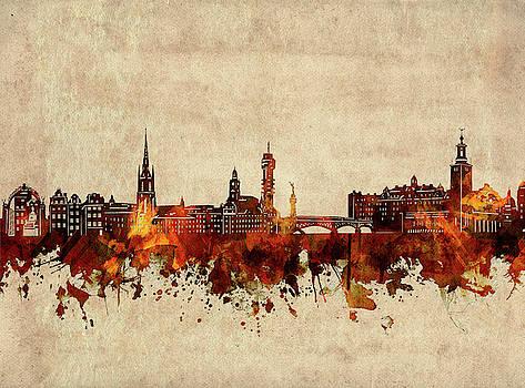Stockholm Skyline Sepia by Bekim Art