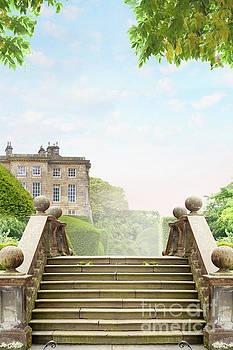 Stone Steps Leading To A Historic Mansion House by Lee Avison