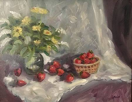 Strawberries and Lace Still Life by Richard Nowak