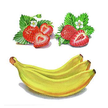 Strawberry Banana Smile Watercolor Food Illustration  by Irina Sztukowski