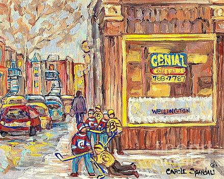 Street Hockey On The Avenues 3rd And Wellington Verdun Genial Coiffure Winter Scene C Spandau Artist by Carole Spandau
