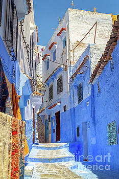 Street in Chefchaouen, Morocco by Louise Poggianti