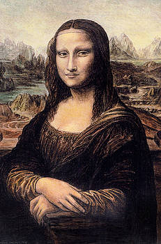 Study of Mona Lisa using 6 children's crayons by Michael Parent