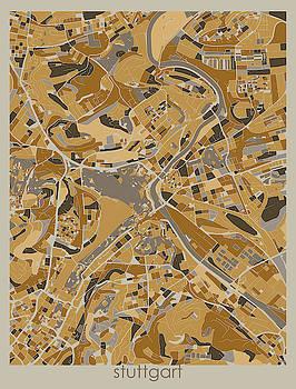 Stuttgart Map Retro 4 by Bekim M