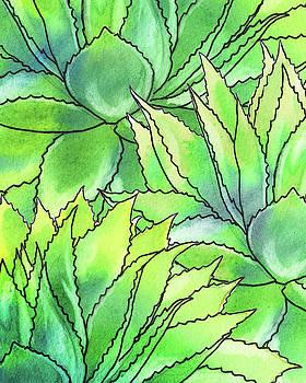 Succulent Garden Watercolor Composition I  by Irina Sztukowski
