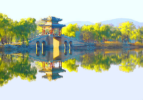 Summer Palace causeway pavilion bridge scene painting by Steve Clarke
