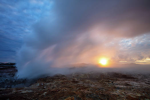 Summer Solstice Geothermal Midnight Sun by Pierre Leclerc Photography