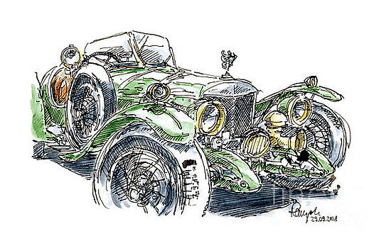 Frank Ramspott - Sunbeam 3 Litre Supersport Classic Car Ink Drawing and Watercolo