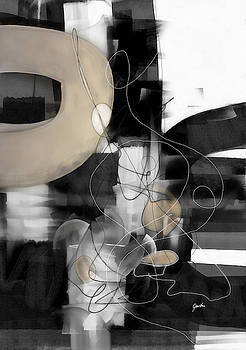 Sunday Morning Large Modern Black And White Abstract Painting by Modern Art Prints