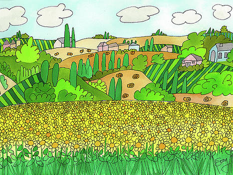 Sunflower French Countryside by Suzy Mandel-Canter
