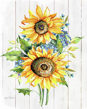 Sunflowers On Shiplap by Jean Plout