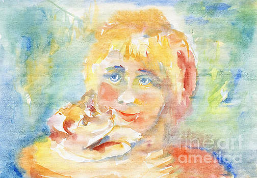 Sunny child and puppy by Irina Dobrotsvet