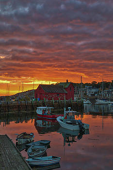 Sunrise across Rockport Harbor by Juergen Roth