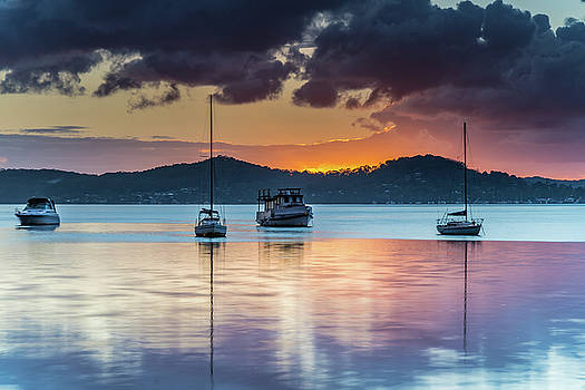 Sunrise and Cloudy Morning on the Bay with Boats by Merrillie Redden