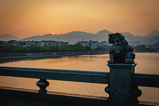 Sunrise in Longquan seen from Gargoyle Bridge by William Dickman