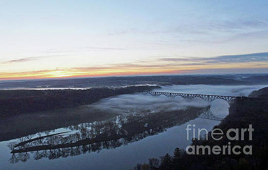 Sunrise over St Croix River Arcola Soo Line High Bridge by Pictures Over Stillwater