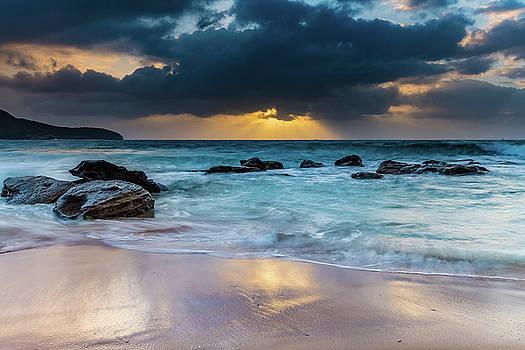 Sunrise Seascape in a Mood by Merrillie Redden