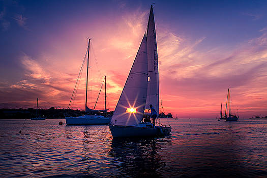 Sunset and sails by Johnathan Erickson