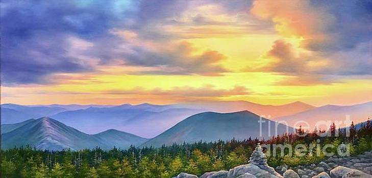 Sunset at Bonds, View from Mt Bond to Mt. West Bond on right and Mt. Bond Cliff on left by Varvara Harmon