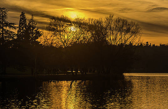 Sunset at Green Lake by Marv Vandehey