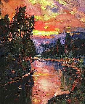Sunset At River Bend by David Lloyd Glover