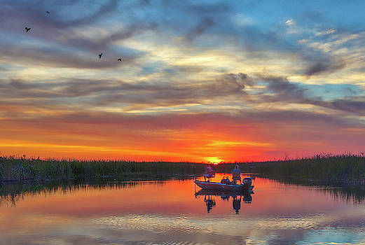 Sunset Fishing at Loxahatchee National Wildlife Refuge by Juergen Roth