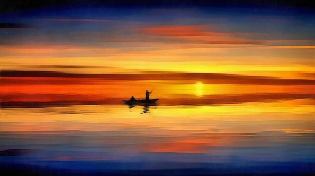 Sunset Fishing by Harry Warrick