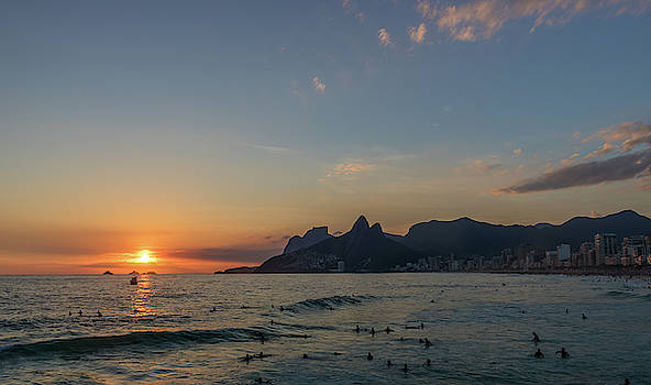 Sunset in Brazil at Ipanema Beach in front of Two Brothers Mount by Ryan Hoel