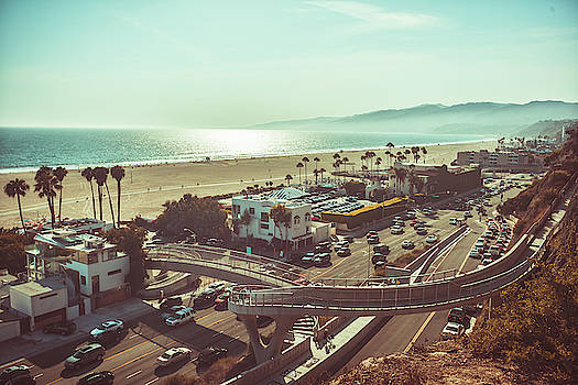 Sunset in Santa Monica monochrome vintage toned by Natalia Macheda