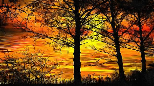 Sunset Lake by Harry Warrick