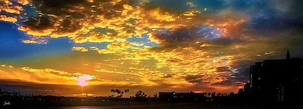 Sunset / Long Beach Marina by John R Williams