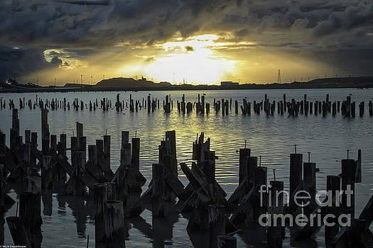 Sunset On Humboldt Bay by Mitch Shindelbower