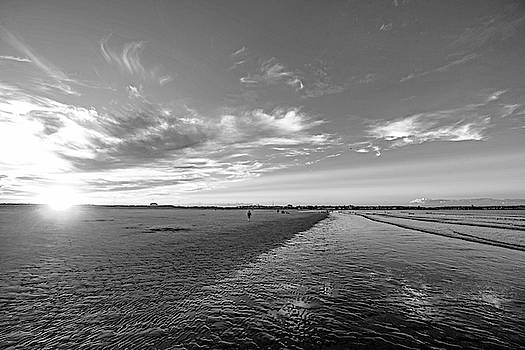Toby McGuire - Sunset on Nahant Beach Nahant MA Black and White