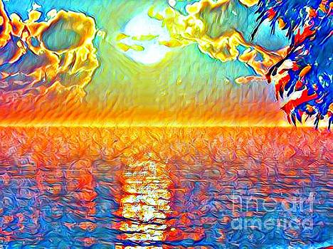 Sunset On The Lake In Impressinism Abstract by Debra Lynch