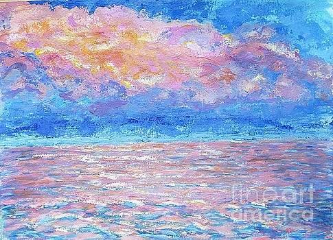 Sunset on the ocean by Olga Malamud-Pavlovich