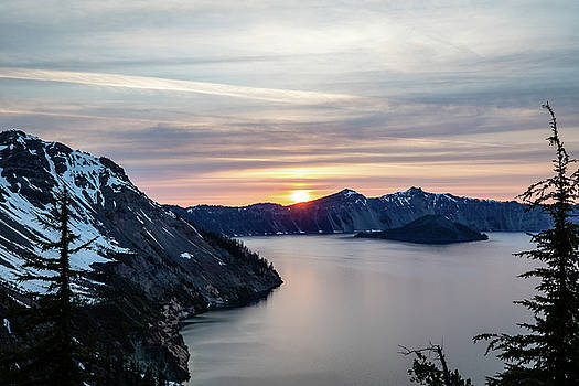 Sunset over Crater Lake by M C Hood
