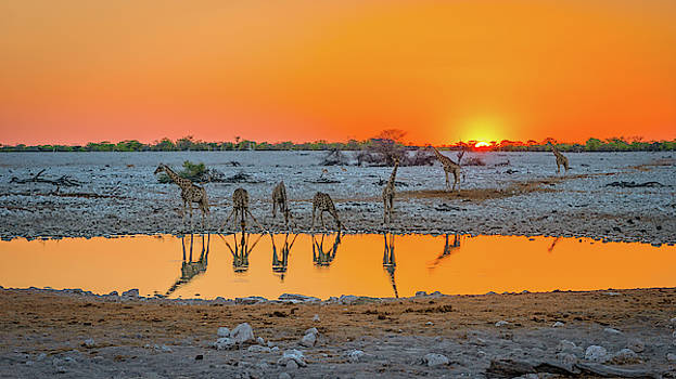 Sunset over Okaukuejo by Hamish Mitchell