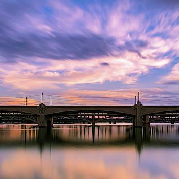 Sunset Over The Bridge by Ken Mickel