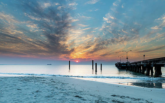 Sunset Seascape and beautiful clouds by Merrillie Redden