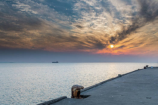 Sunset Seascape with Jetty by Merrillie Redden