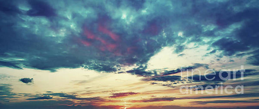 Sunset sky panoramic background. by Michal Bednarek