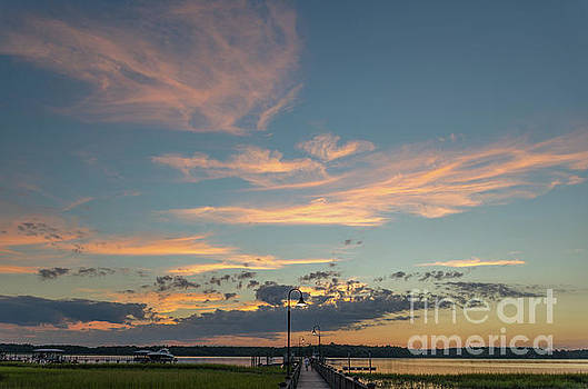 Sunset - Wando River in Mount Pleasant South Carolina  by Dale Powell